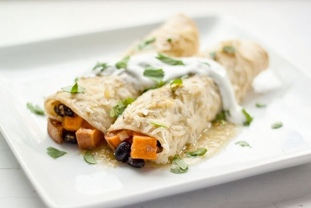 Sweet Potato, Black Bean and Green Chile Enchiladas | a Couple Cooks