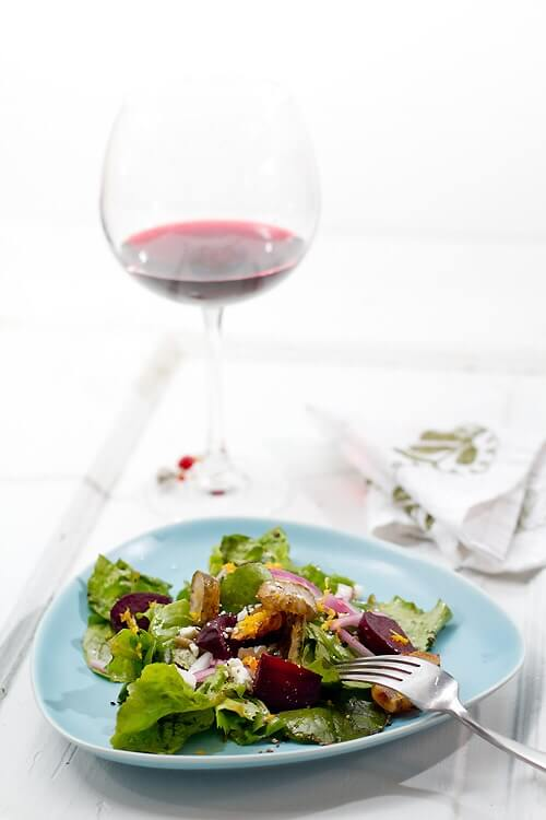 Roasted sunchoke recipe with arugula beet salad