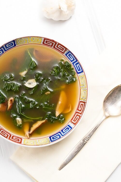 Kale Soup with Mushrooms and Garlic