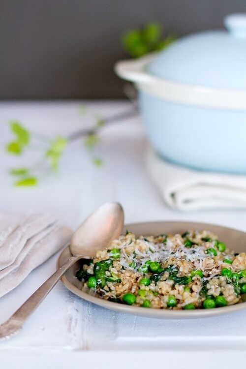 Pea and Spinach Baked Risotto