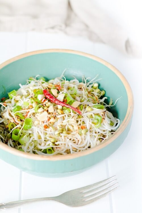 Noodles with Sprouted Beans and Curry Lime Dressing