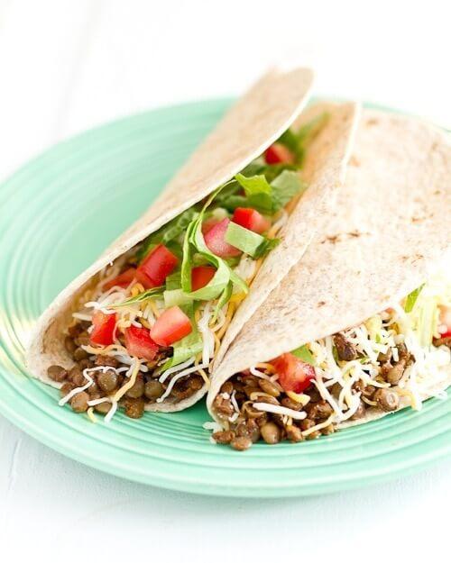 Vegetarian Lentil Tacos on plate