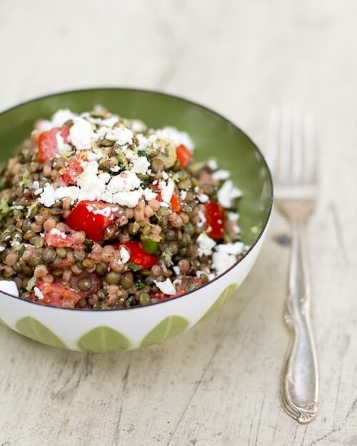 Pearl couscous and lentils