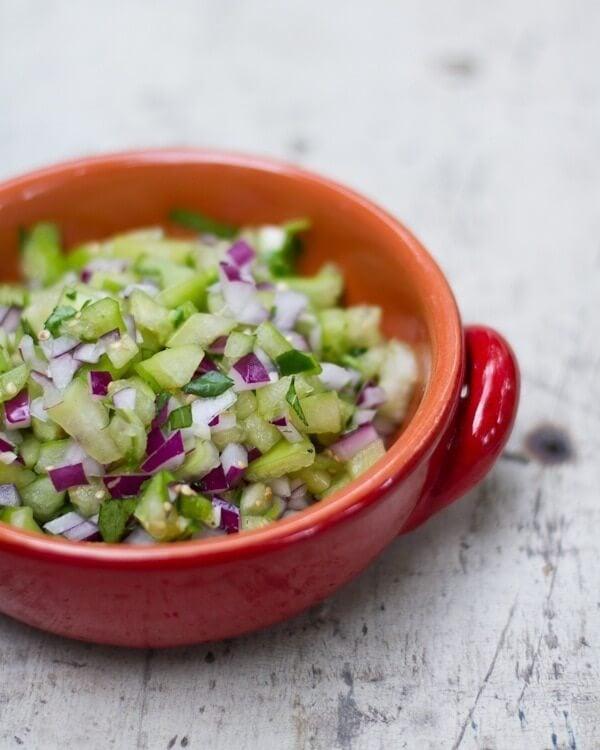 Homemade Tomatillo Salsa with Fresh Tomatillos | A Couple Cooks