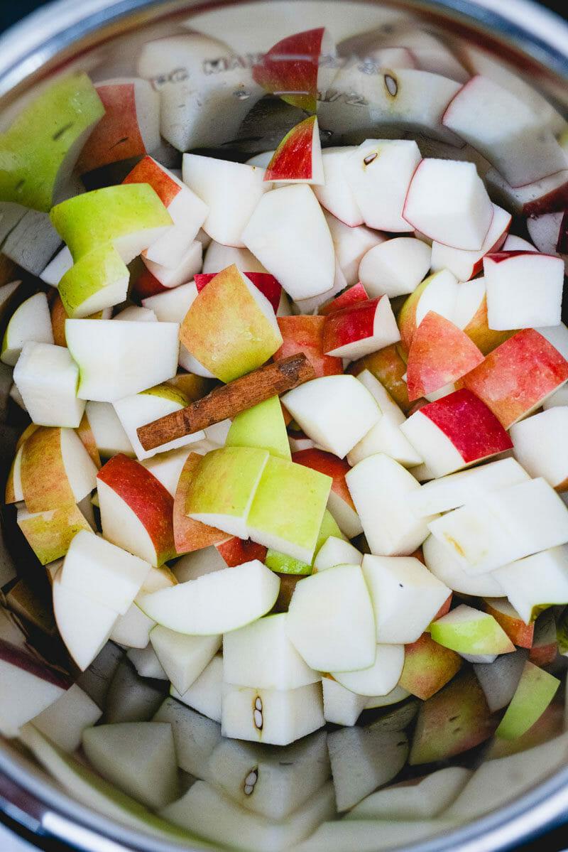 Instant Pot applesauce: chop the apples
