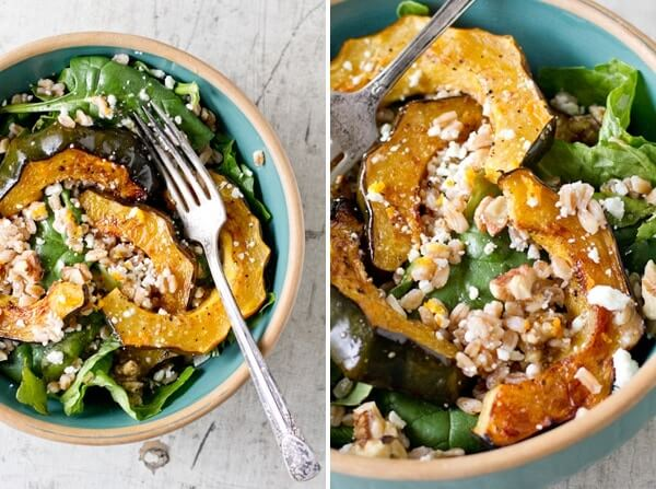 Acorn Squash with Greens, Farro and Feta | A Couple Cooks