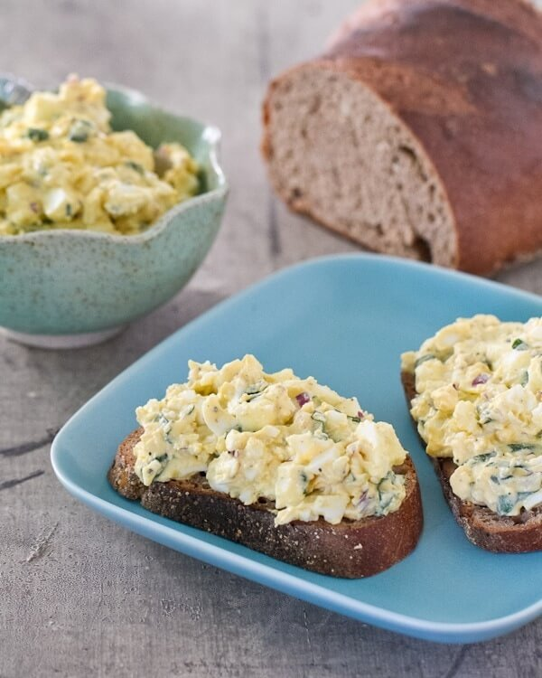 Healthy egg salad with basil