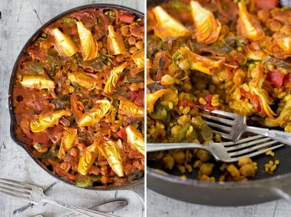 Simple Vegetarian Paella, Easy Vegan Paella