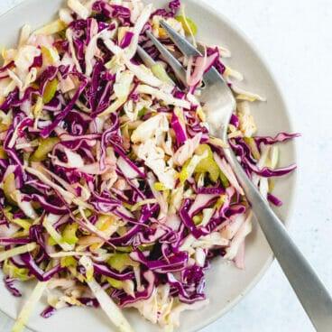 Easy vinegar coleslaw recipe | No Mayo coleslaw