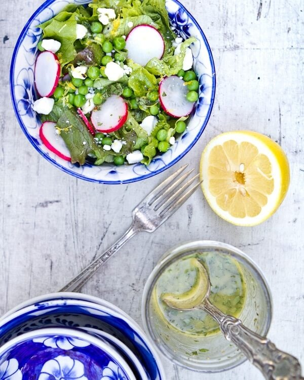 Radish and Pea Salad with Lemon Oregano Vinaigrette