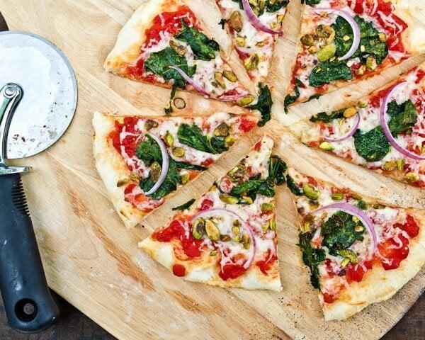 Kale & pistachio pizza