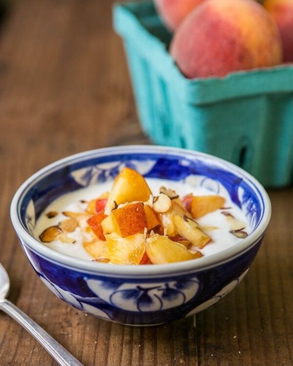 Peaches, Greek Yogurt, and Honey {Healthy Snack}