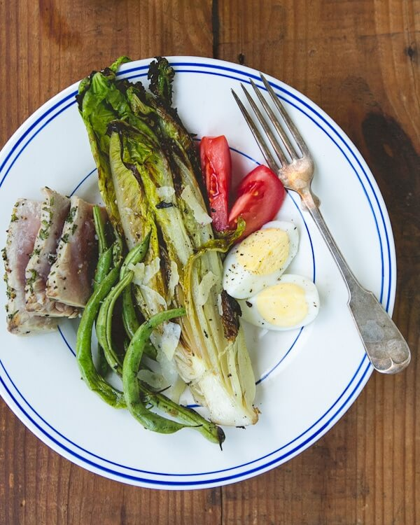 Grilled Romaine Salad with Tuna (Salad Nicoise)
