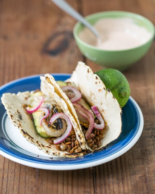 Lentil and Grilled Vegetable Tacos