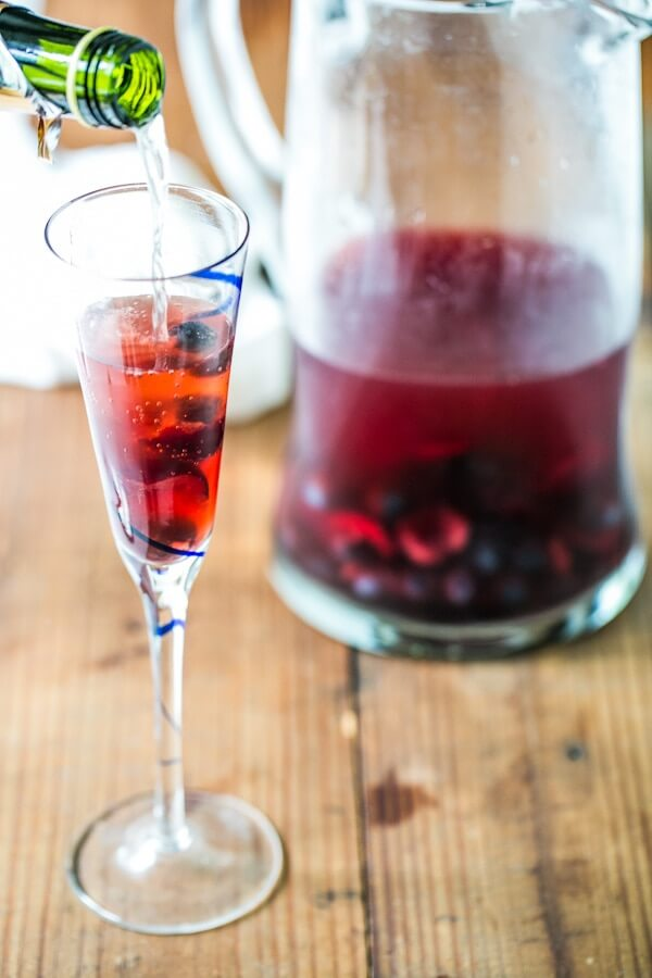 Cherry blueberry champagne sparklers