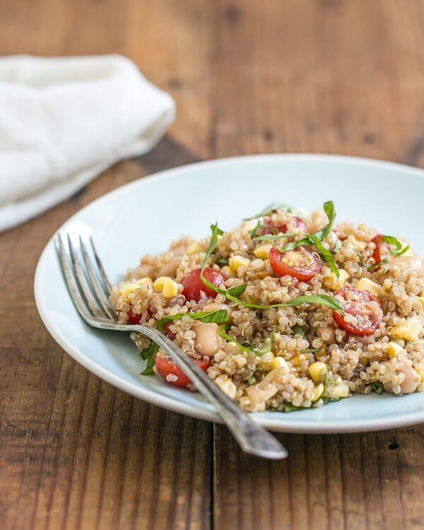 Summer quinoa salad with corn