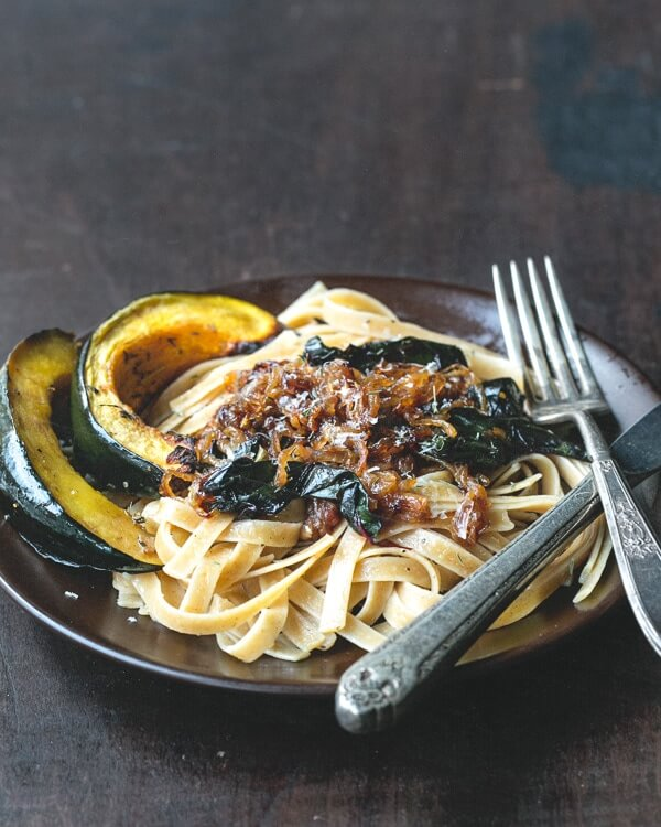 Caramelized Onion Fettuccine with Roasted Acorn Squash