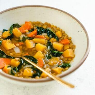 Butternut squash lentil soup | Superfood soup