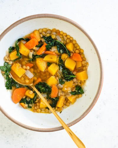 Butternut squash lentil soup