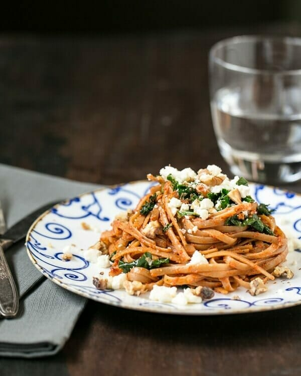 Roasted Red Pepper Pesto Linguine with Kale and Feta | a Couple Cooks