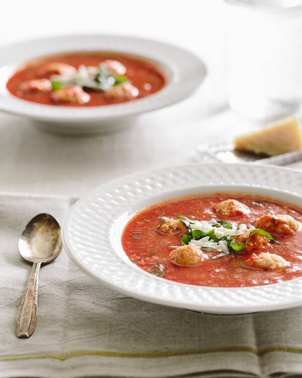 Tomato Basil Soup with Ricotta Dumplings