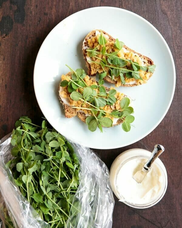 Pea Shoot Tartine