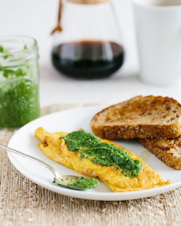 Cheese Omelette with Ramp Chimichurri