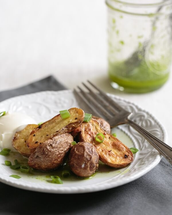 Roasted Baby Potatoes with Chive Oil