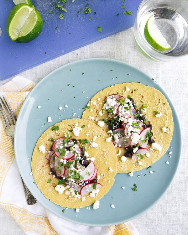Black Bean Tacos with Radish Salsa and Feta