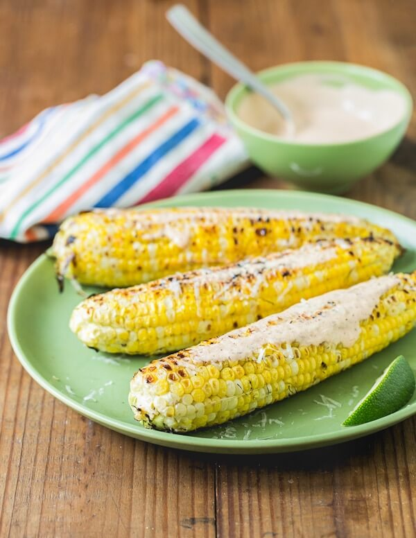 Grilled Corn with Chili Lime Sour Cream