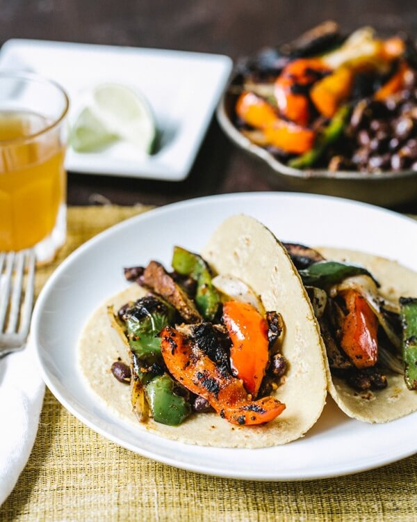 Vegetarian fajitas on the grill