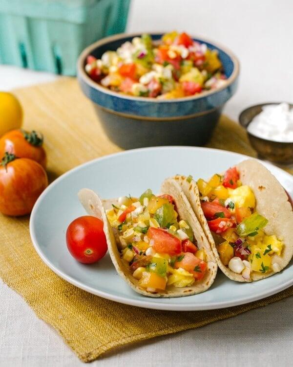 Egg taco with salsa fresca