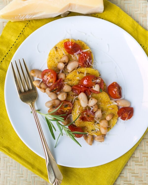 Grilled Polenta with White Beans and Tomatoes