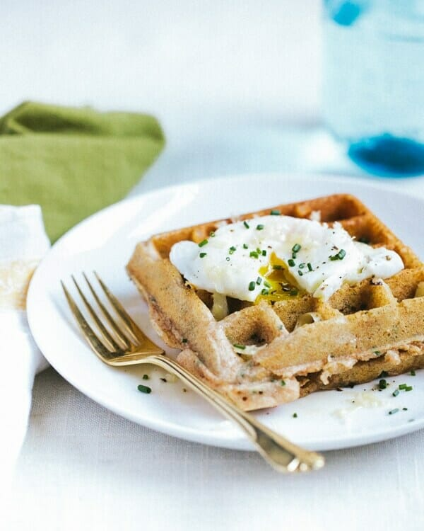 Whole Wheat Chive Waffles with Poached Egg