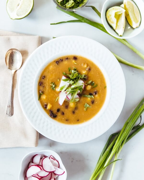 Tomatillo, Corn, and Black Bean Soup