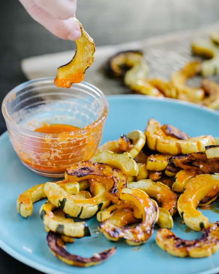 Roasted Delicata Squash Fries with Buffalo Sauce | A Couple Cooks
