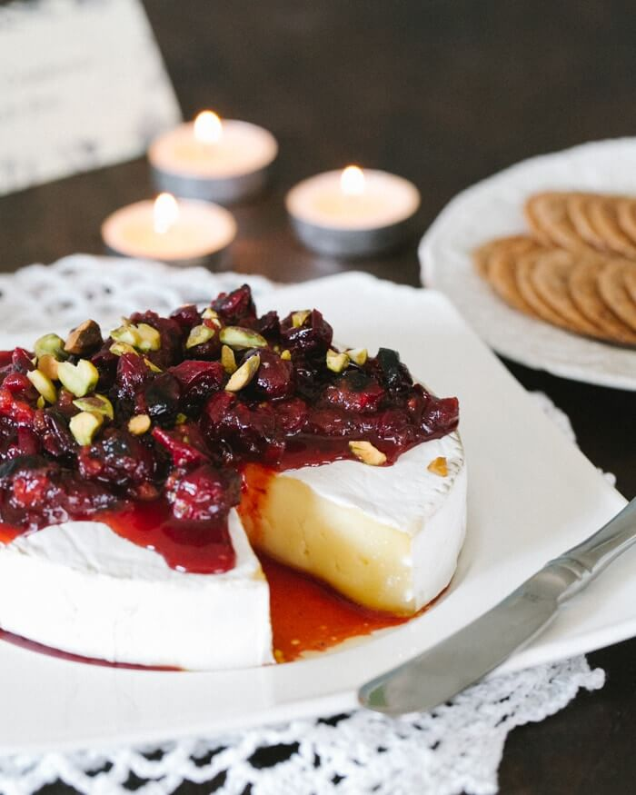 Baked Brie with Roasted Cranberry Sauce | A Couple Cooks