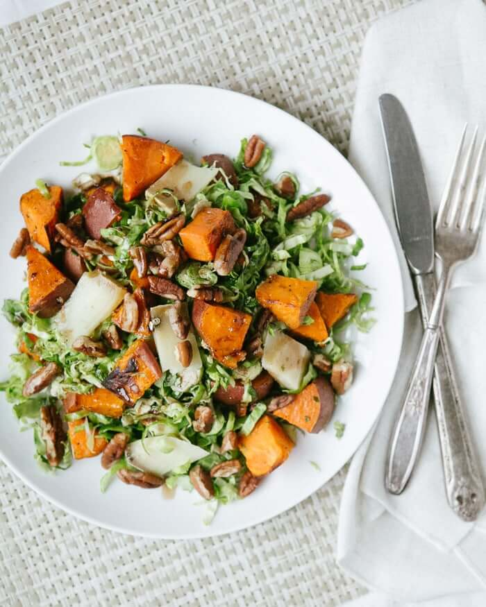 Shaved Brussels Sprouts and Sweet Potato Salad | A Couple Cooks