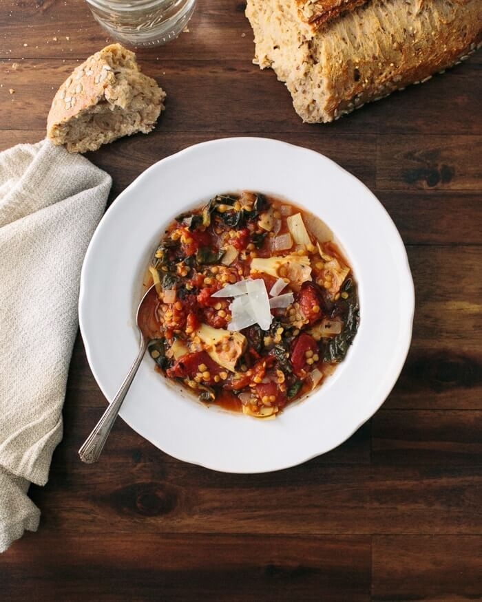 Tuscan lentil soup with artichokes and tomatoes