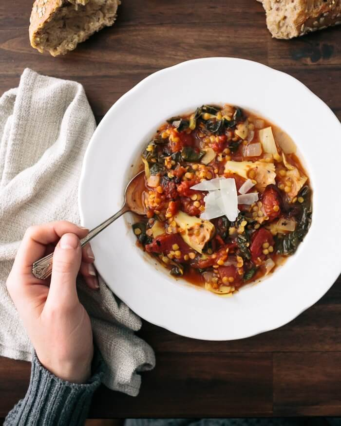 Best lentil recipes | Tomato artichoke lentil stew