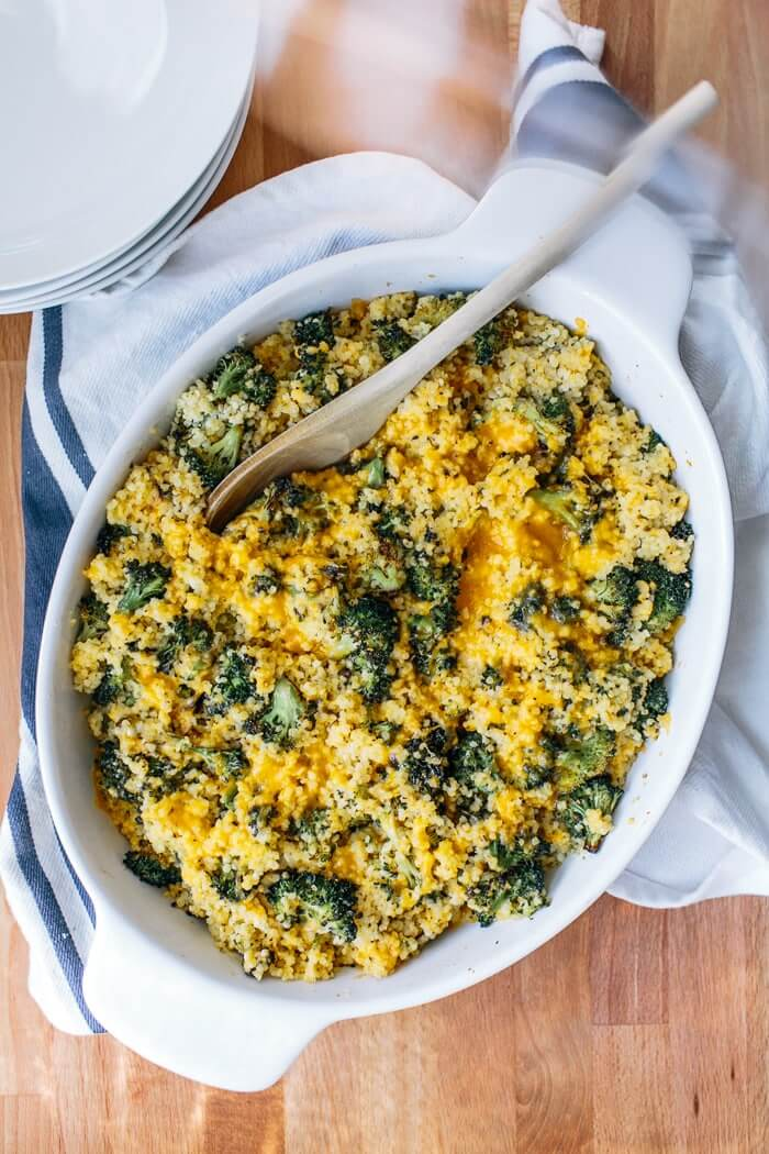 Roasted Broccoli and Cheddar Millet Bake | A Couple Cooks