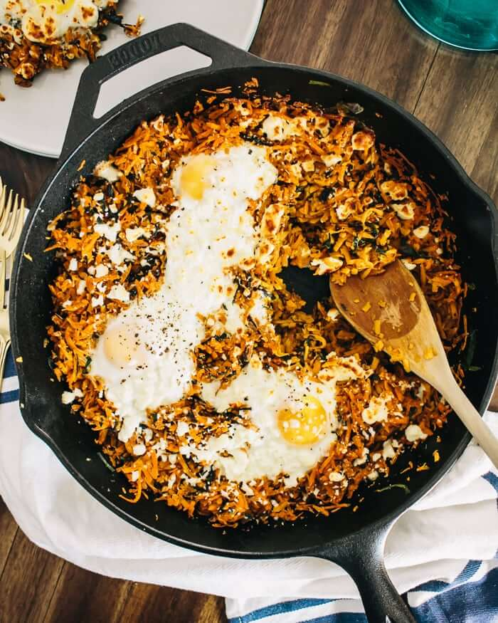 Sweet Potato and Feta Dinner Skillet | A Couple Cooks