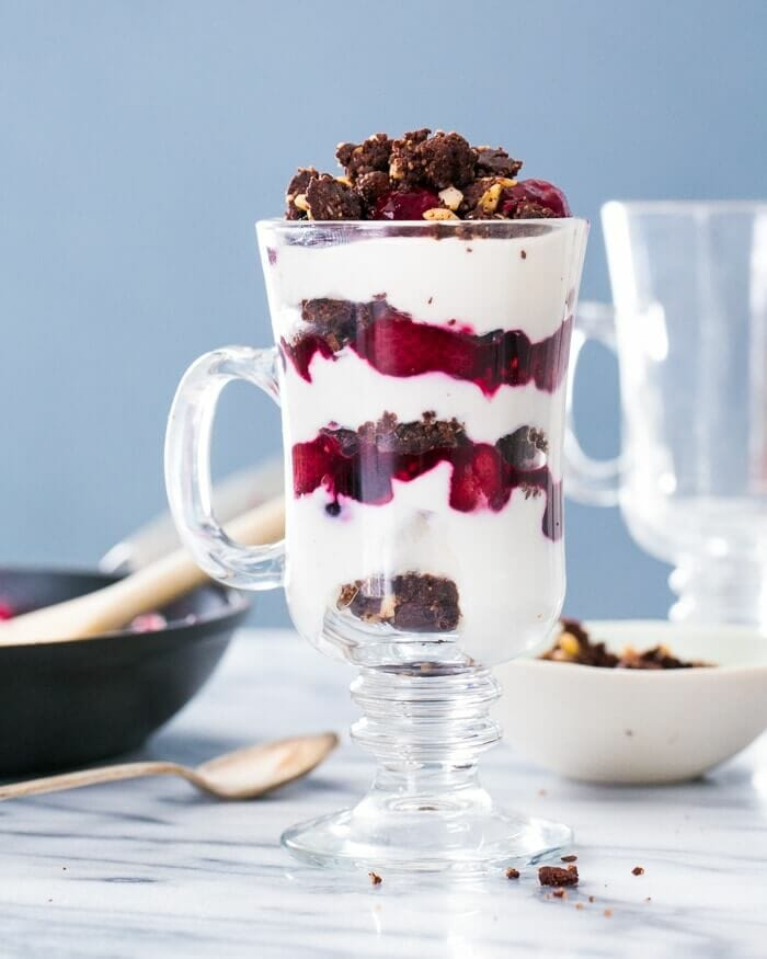 Triple Berry Raw Brownie Parfait | A Couple Cooks