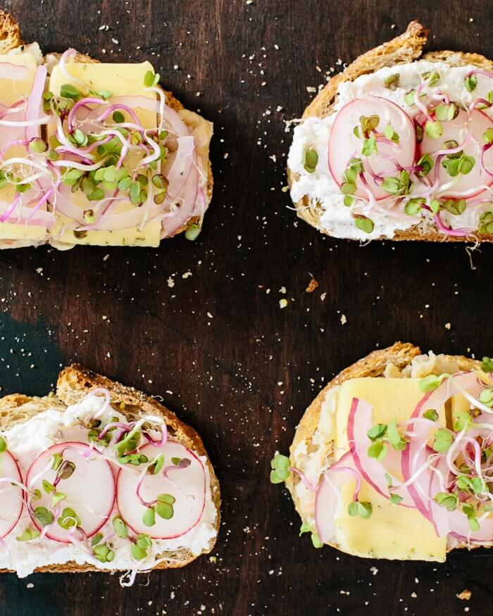 Simple Lunch: Ricotta and Radish + White Bean and Havarti Tartines | A Couple Cooks
