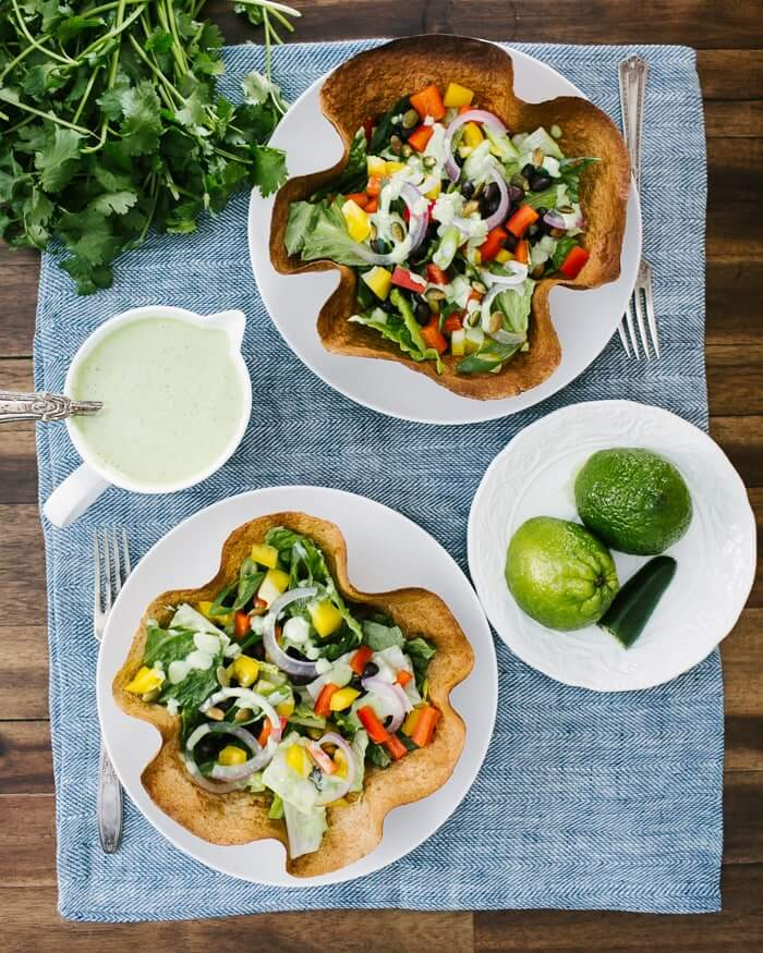 Tortilla Bowl Salads with Green Goddess Dressing | A Couple Cooks