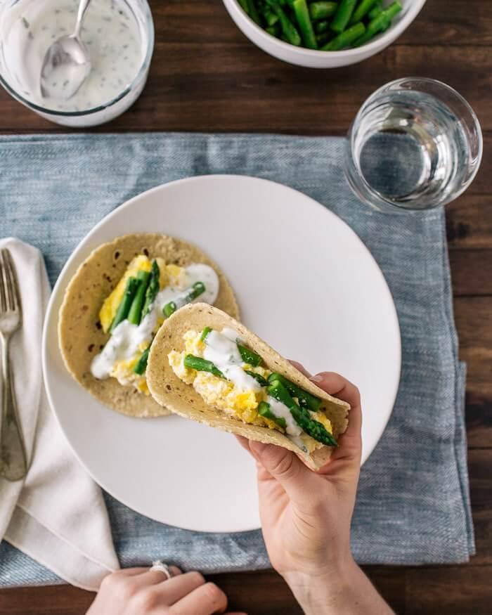 Ricotta Scrambled Egg and Asparagus Tacos | A Couple Cooks