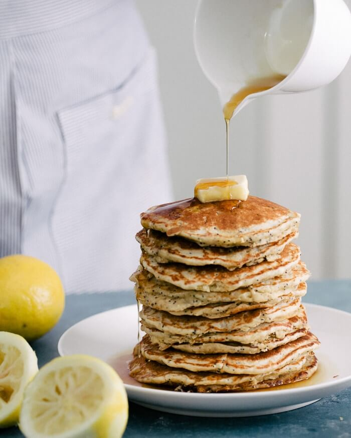 Lemon Poppy Seed Oatmeal Pancakes