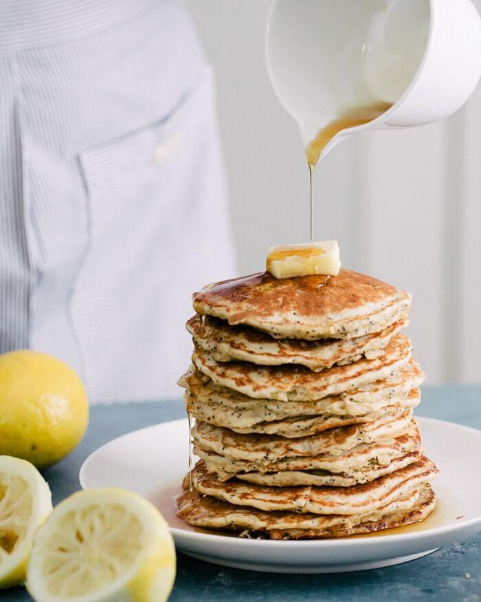 Lemon Poppyseed Pancakes | Gluten Free Oatmeal Pancakes