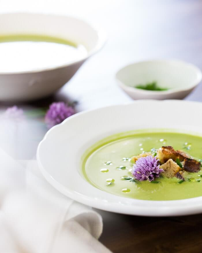 Pea Soup with Rye Croutons and Chive Blossoms