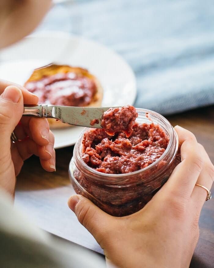 Rhubarb jam with chia seeds